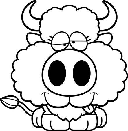 A cartoon illustration of a buffalo with a goofy expression. Illustration