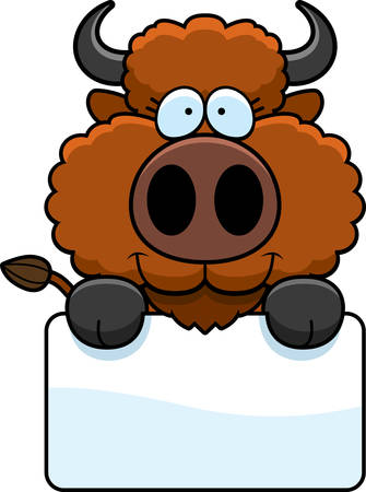 A cartoon illustration of a buffalo with a white sign.