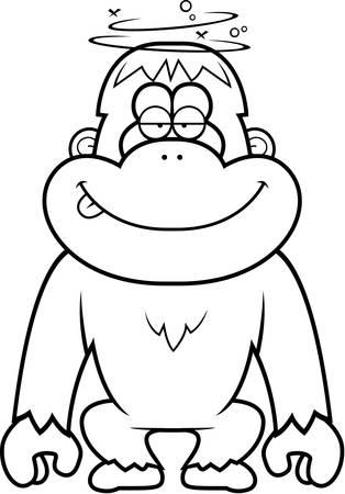 stupid: A cartoon illustration of a stupid orangutan.