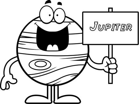 jupiter: A cartoon illustration of the planet Jupiter holding a sign.