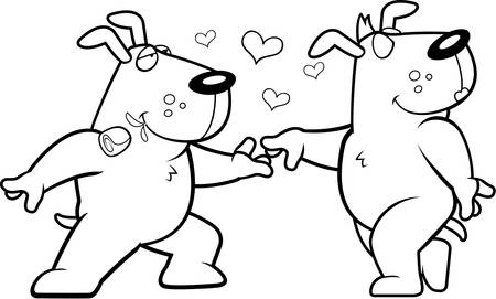 dog rose: Two happy cartoon dogs in love with each other. Illustration