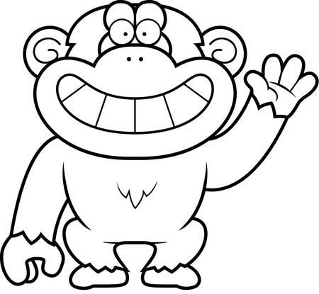 chimp: A cartoon illustration of a chimp waving.