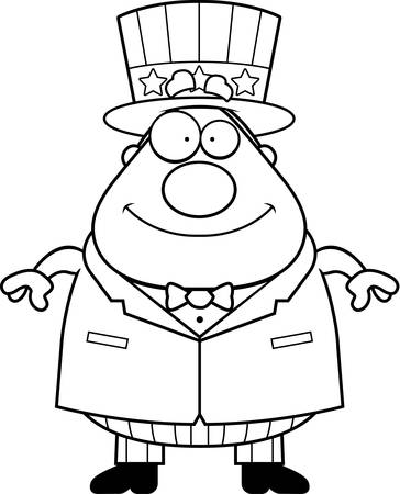A happy cartoon patriotic man standing and smiling.