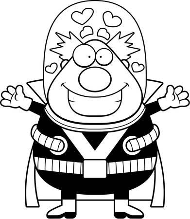 villain: A cartoon illustration of a supervillain ready to give a hug.
