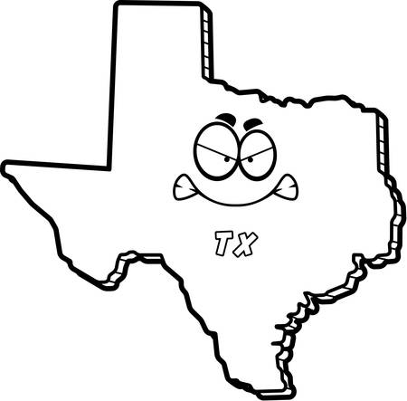 tx: A cartoon illustration of the state of Texas looking angry.
