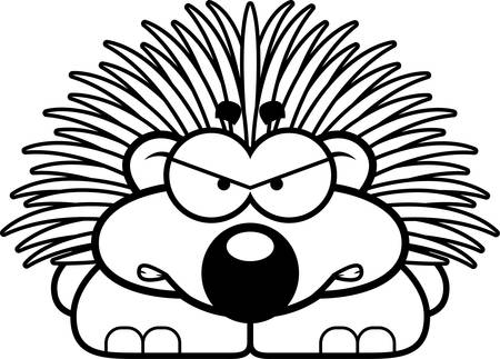 porcupine: A cartoon illustration of a little porcupine with an angry expression. Illustration
