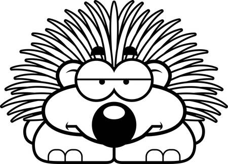 porcupine: A cartoon illustration of a little porcupine looking bored.