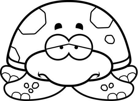 sea turtle: A cartoon illustration of a little sea turtle with a sad expression.