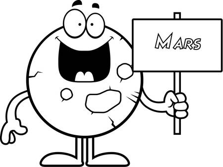 celestial body: A cartoon illustration of the planet Mars holding a sign. Illustration