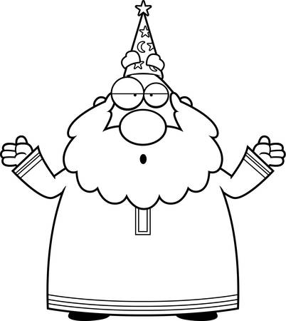 shrug: A cartoon wizard with an confused expression.