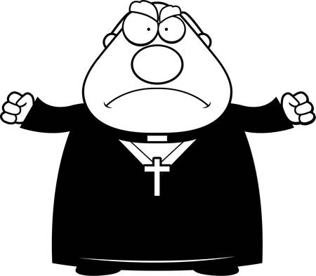 catholic cross: A cartoon illustration of a priest looking angry.