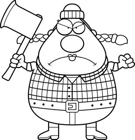 franela: Un ejemplo de la historieta de una mujer del le�ador que parece enojado.