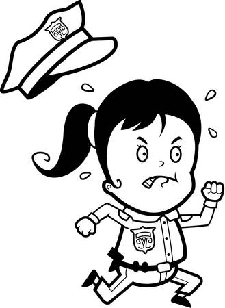 cops: A cartoon child police officer angry and running. Illustration