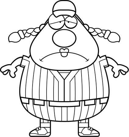softball player: A cartoon illustration of a softball player looking tired. Illustration