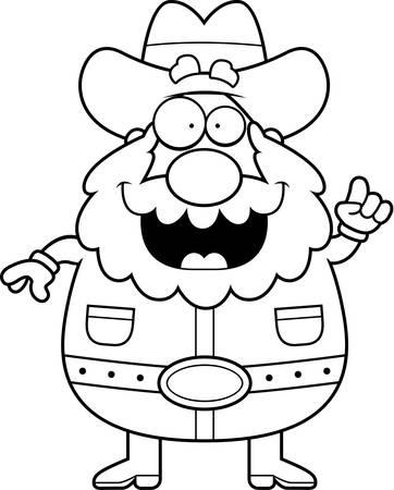 prospector: Un minero de dibujos animados feliz con una idea.