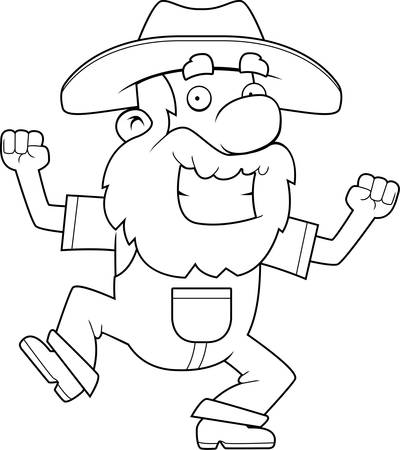 prospector: A happy cartoon prospector celebrating and smiling. Illustration
