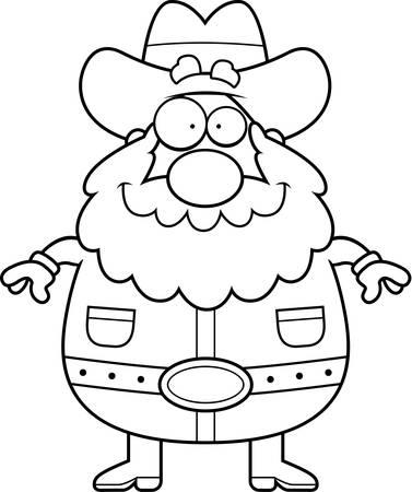 Een gelukkig cartoon goudzoeker staan en glimlachen. Stock Illustratie