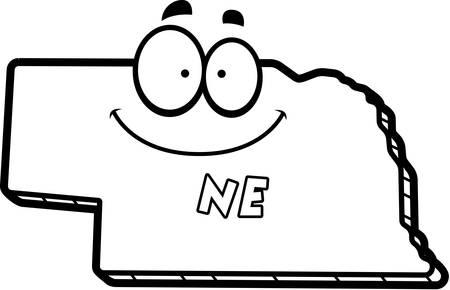 ne: A cartoon illustration of the state of Nebraska smiling.