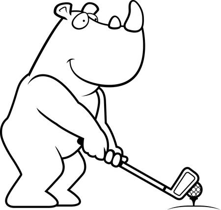 rt: A cartoon illustration of a rhino playing golf.