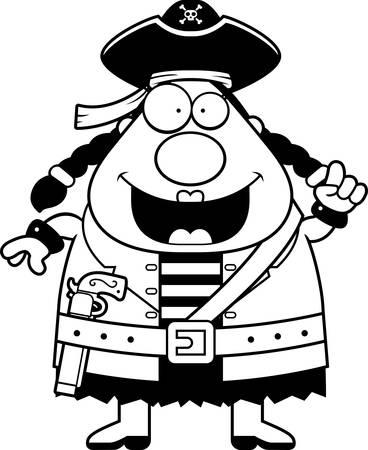 pirata mujer: Una mujer pirata de dibujos animados feliz con una idea.