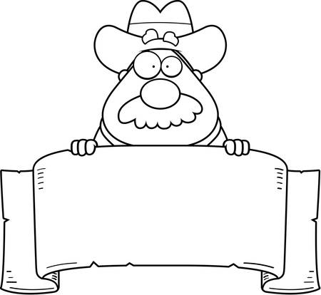 papier banner: A cartoon cowboy with a paper banner.