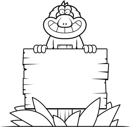 macaque: A cartoon illustration of a Japanese macaque with a wooden sign. Illustration