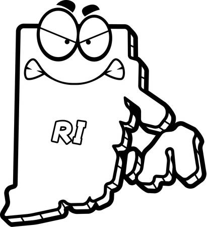 outraged: A cartoon illustration of the state of Rhode Island looking angry.