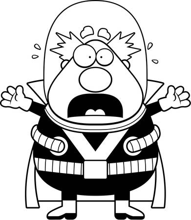 villain: A cartoon illustration of a supervillain looking scared. Illustration