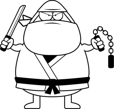 dangerous man: A cartoon illustration of a ninja with weapons. Illustration