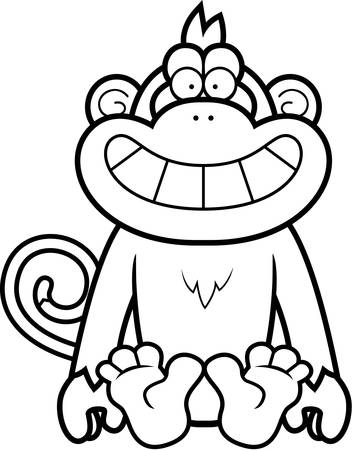 smirking: A cartoon illustration of a monkey sitting.