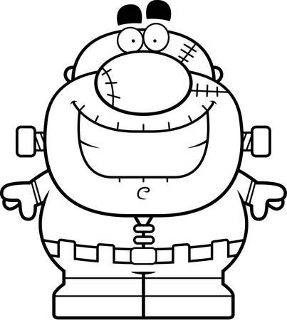 cartoon frankenstein: A cartoon illustration of a Frankenstein monster smiling.