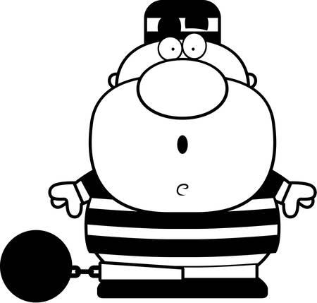 Een cartoon illustratie van een gevangene op zoek verrast.