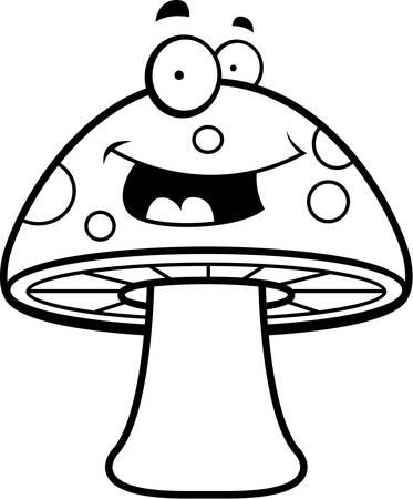 champignon magique: Une magie cartoon champignons heureux et souriant. Illustration