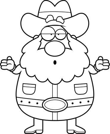 prospector: Un minero de dibujos animados encogiéndose de hombros y mirando confundido.