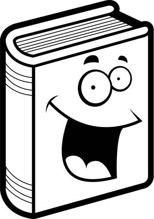 A cartoon blue book smiling and happy.
