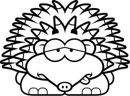 nauseous: A cartoon illustration of a little hedgehog looking sick.