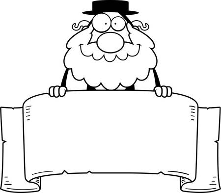A cartoon illustration of a rabbi with a banner.