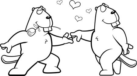 beavers: Two cartoon beavers happy and in love.