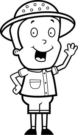 m�dula: Un feliz explorador ni�o de dibujos animados saludando y sonriendo.