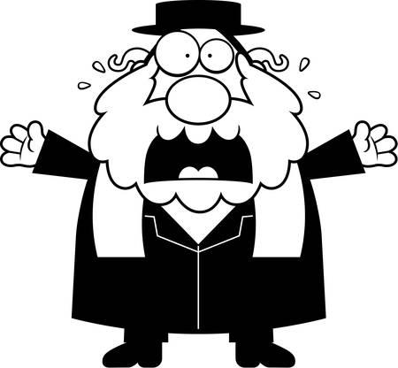 the rabbi: A cartoon illustration of a rabbi looking scared.