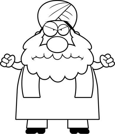 sikh: A cartoon illustration of a Sikh looking angry. Illustration