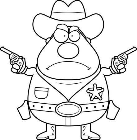 gunfighter: A cartoon sheriff with an angry expression.