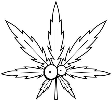 A green cartoon marijuana leaf with eyes.