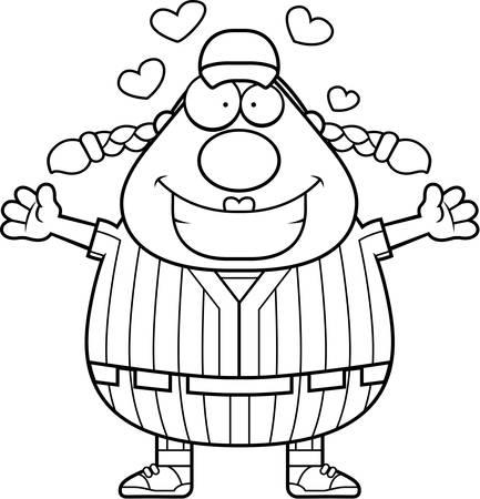 softball player: A cartoon illustration of a softball player ready to give a hug.