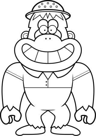 pith: A cartoon illustration of a bigfoot in a safari outfit and pith.