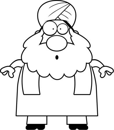 sikh: A cartoon illustration of a Sikh looking surprised. Illustration