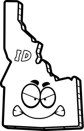 outraged: A cartoon illustration of the state of Idaho looking angry.