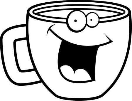 A cartoon cup of coffee smiling and happy. Ilustração