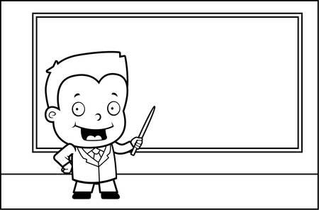 A cartoon boy at the chalkboard teaching class.