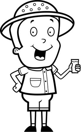 A happy cartoon explorer with a glass of water.